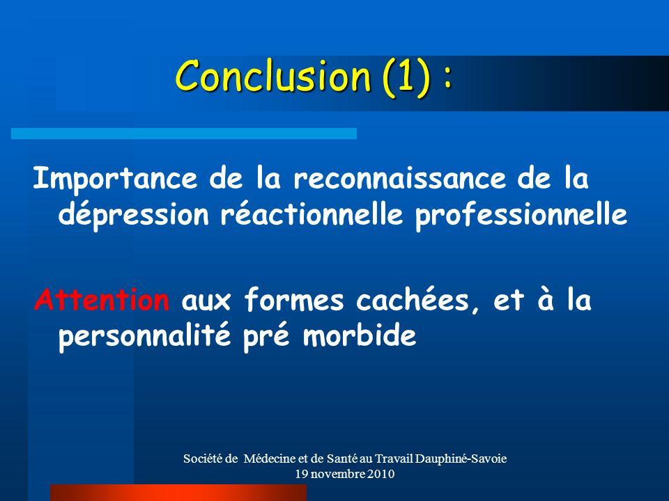 Société de Médecine et de Santé au Travail Dauphiné-Savoie 19 novembre 2010 Conclusion (1) : Importance de la reconnaissance de la dépression réaction