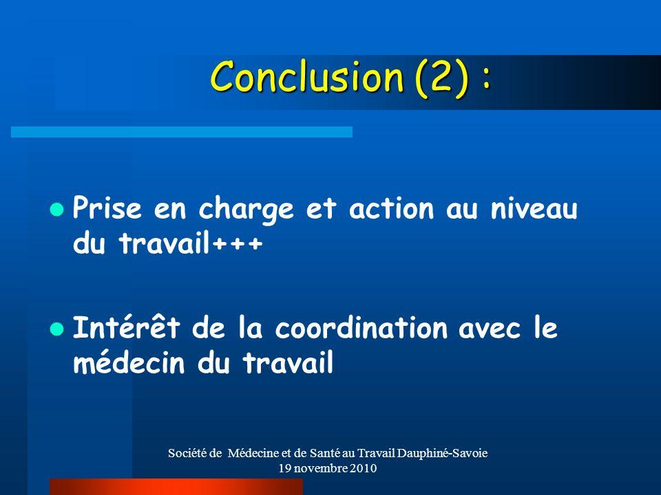 Société de Médecine et de Santé au Travail Dauphiné-Savoie 19 novembre 2010 Conclusion (2) : Prise en charge et action au niveau du travail+++ Intérêt