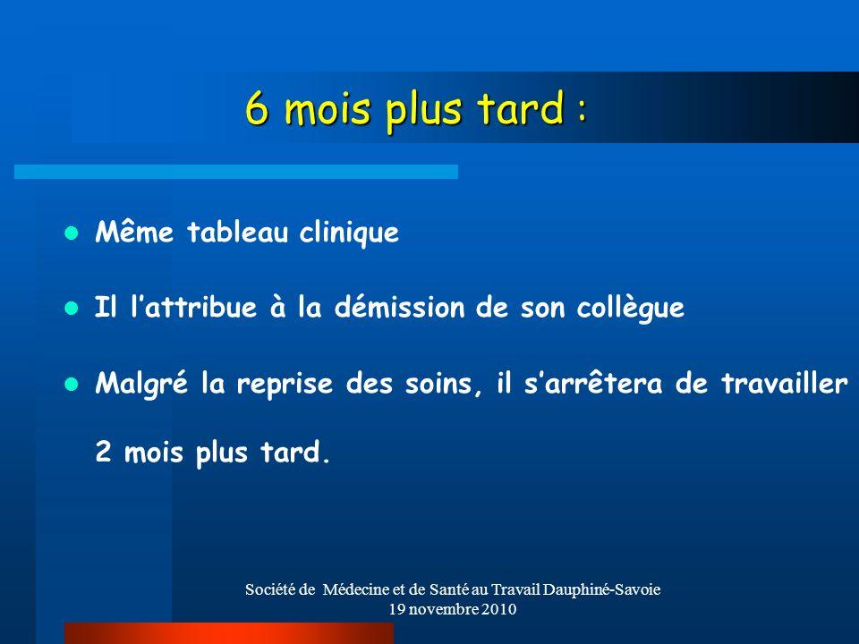 Société de Médecine et de Santé au Travail Dauphiné-Savoie 19 novembre 2010 6 mois plus tard : Même tableau clinique Il lattribue à la démission de so