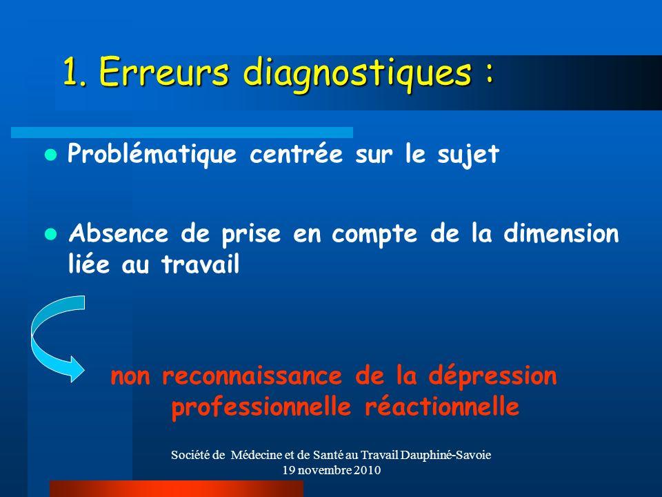 Société de Médecine et de Santé au Travail Dauphiné-Savoie 19 novembre 2010 1. Erreurs diagnostiques : Problématique centrée sur le sujet Absence de p