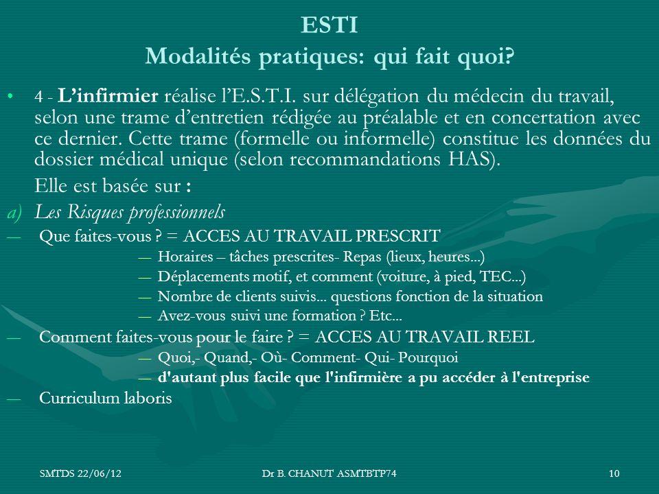 SMTDS 22/06/12Dr B. CHANUT ASMTBTP7410 ESTI Modalités pratiques: qui fait quoi? 4 - Linfirmier réalise lE.S.T.I. sur délégation du médecin du travail,