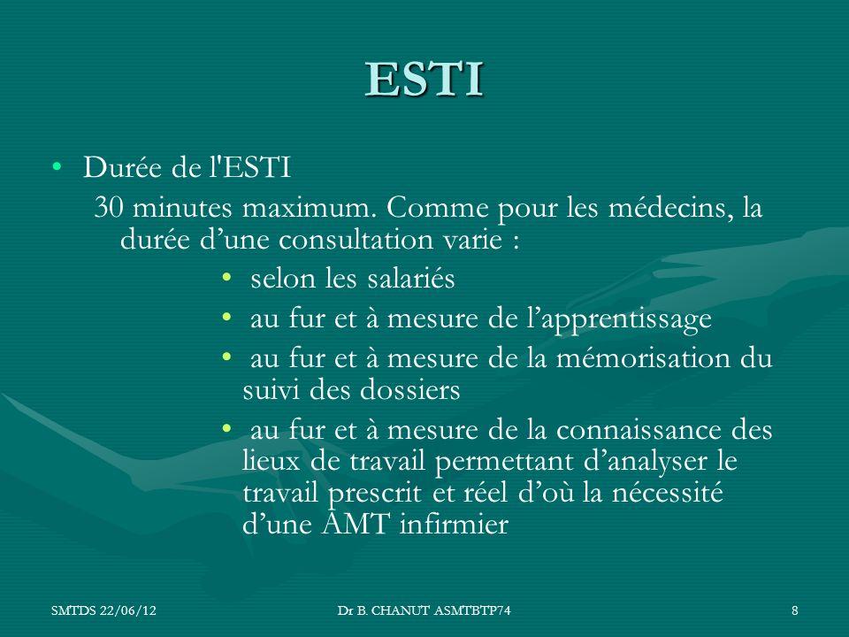 SMTDS 22/06/12Dr B. CHANUT ASMTBTP748 ESTI Durée de l'ESTI 30 minutes maximum. Comme pour les médecins, la durée dune consultation varie : selon les s