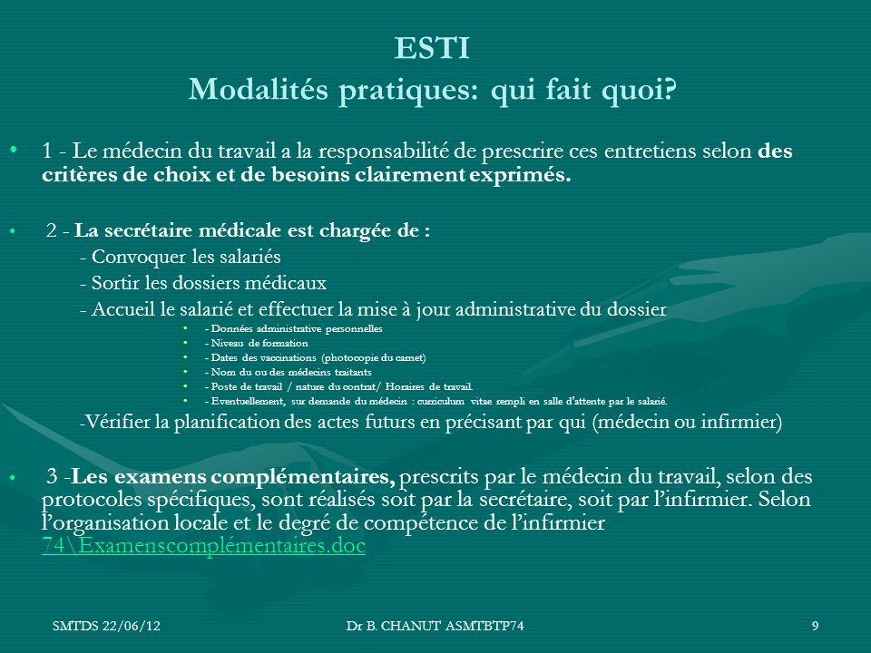 SMTDS 22/06/12Dr B. CHANUT ASMTBTP749 ESTI Modalités pratiques: qui fait quoi? 1 - Le médecin du travail a la responsabilité de prescrire ces entretie