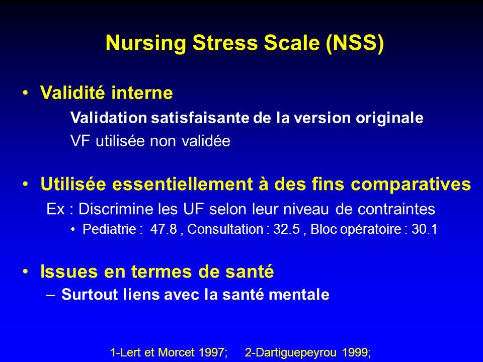 Nursing Stress Scale (NSS) Utilisée essentiellement à des fins comparatives Ex : Discrimine les UF selon leur niveau de contraintes Pediatrie : 47.8,