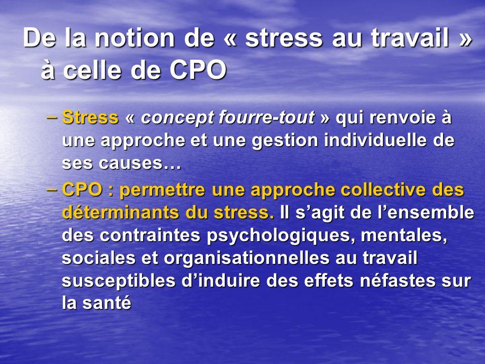 De la notion de « stress au travail » à celle de CPO – Stress « concept fourre-tout » qui renvoie à une approche et une gestion individuelle de ses ca