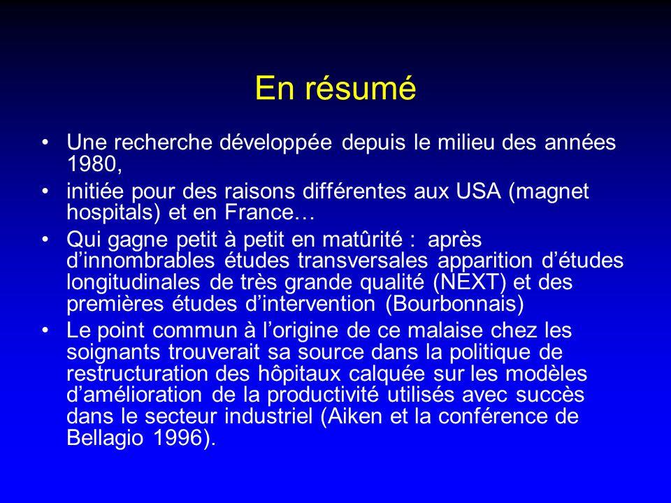 Une recherche développée depuis le milieu des années 1980, initiée pour des raisons différentes aux USA (magnet hospitals) et en France… Qui gagne pet