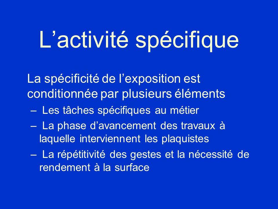 Lactivité spécifique La spécificité de lexposition est conditionnée par plusieurs éléments – Les tâches spécifiques au métier – La phase davancement d