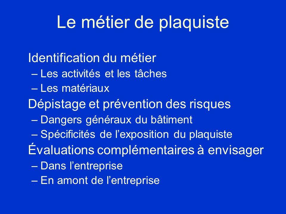 Le métier de plaquiste Identification du métier –Les activités et les tâches –Les matériaux Dépistage et prévention des risques –Dangers généraux du b