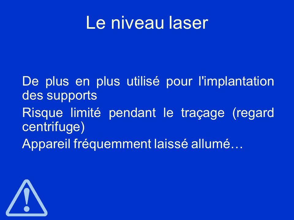 Le niveau laser De plus en plus utilisé pour l'implantation des supports Risque limité pendant le traçage (regard centrifuge) Appareil fréquemment lai