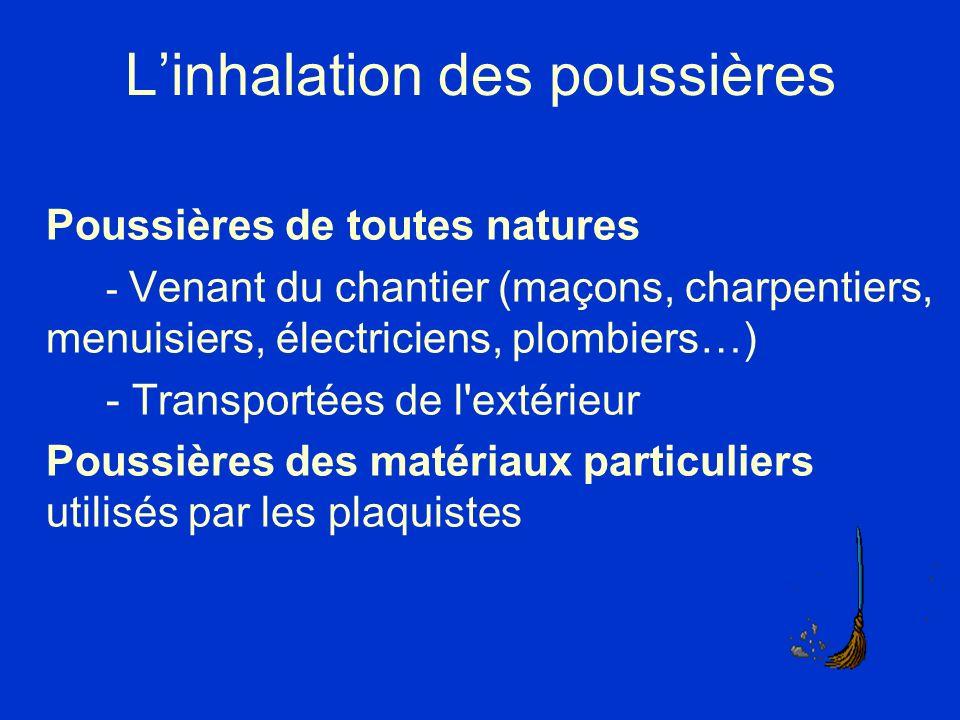 Linhalation des poussières Poussières de toutes natures - Venant du chantier (maçons, charpentiers, menuisiers, électriciens, plombiers…) - Transporté