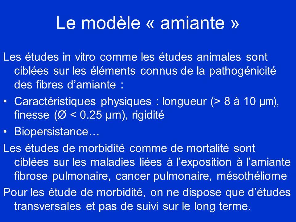 Le modèle « amiante » Les études in vitro comme les études animales sont ciblées sur les éléments connus de la pathogénicité des fibres damiante : Car