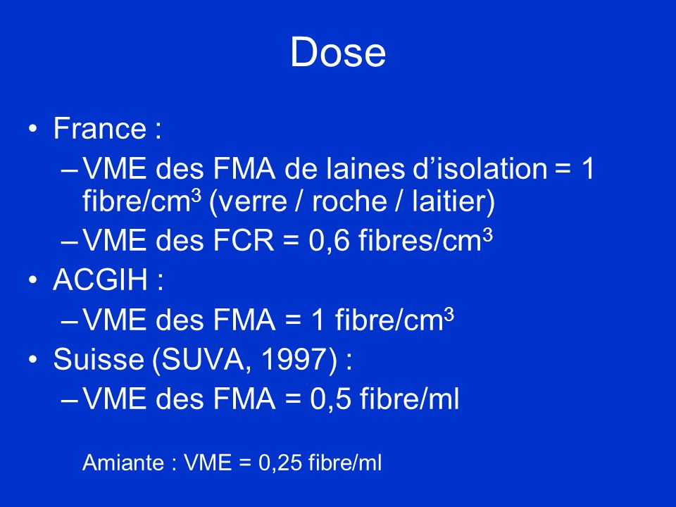 Dose France : –VME des FMA de laines disolation = 1 fibre/cm 3 (verre / roche / laitier) –VME des FCR = 0,6 fibres/cm 3 ACGIH : –VME des FMA = 1 fibre