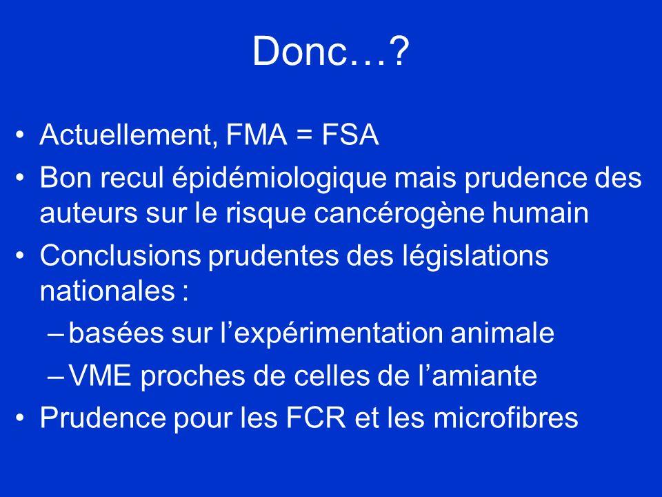 Donc…? Actuellement, FMA = FSA Bon recul épidémiologique mais prudence des auteurs sur le risque cancérogène humain Conclusions prudentes des législat
