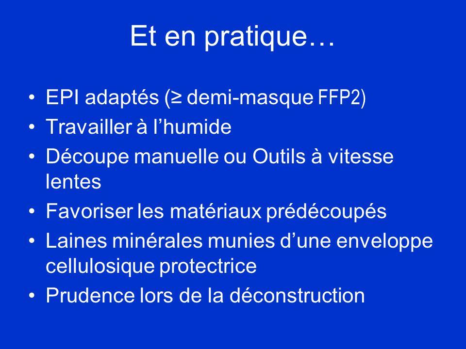 Et en pratique… EPI adaptés ( demi-masque FFP2) Travailler à lhumide Découpe manuelle ou Outils à vitesse lentes Favoriser les matériaux prédécoupés L