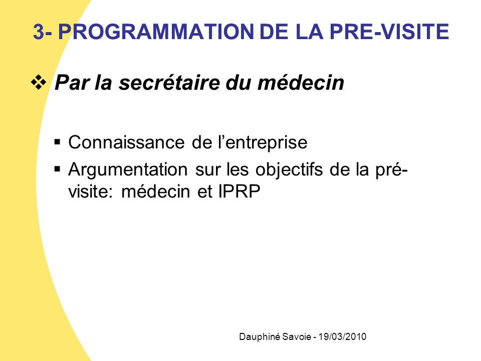 3- PROGRAMMATION DE LA PRE-VISITE Par la secrétaire du médecin Connaissance de lentreprise Argumentation sur les objectifs de la pré- visite: médecin