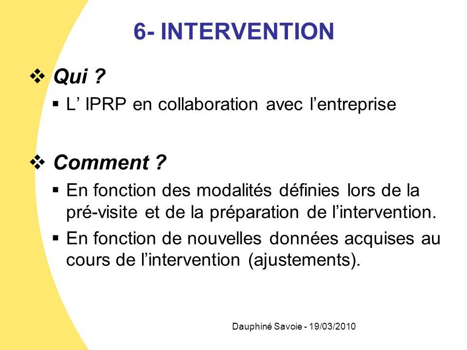 6- INTERVENTION Qui ? L IPRP en collaboration avec lentreprise Comment ? En fonction des modalités définies lors de la pré-visite et de la préparation
