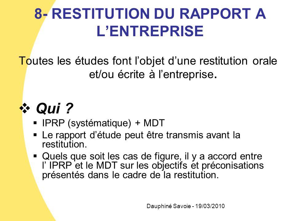 8- RESTITUTION DU RAPPORT A LENTREPRISE Toutes les études font lobjet dune restitution orale et/ou écrite à lentreprise. Qui ? IPRP (systématique) + M