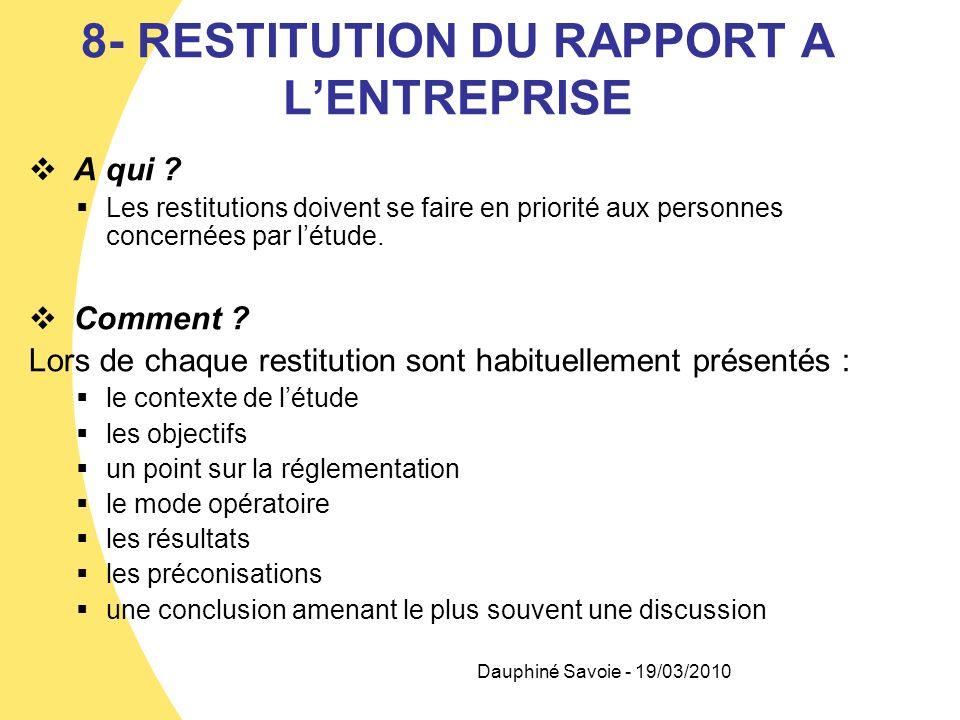 8- RESTITUTION DU RAPPORT A LENTREPRISE A qui ? Les restitutions doivent se faire en priorité aux personnes concernées par létude. Comment ? Lors de c
