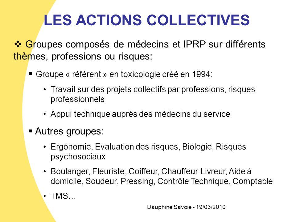Dauphiné Savoie - 19/03/2010 LES ACTIONS COLLECTIVES Groupes composés de médecins et IPRP sur différents thèmes, professions ou risques: Groupe « réfé