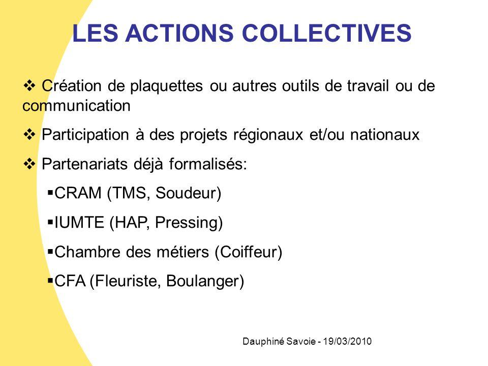Dauphiné Savoie - 19/03/2010 LES ACTIONS COLLECTIVES Création de plaquettes ou autres outils de travail ou de communication Participation à des projet