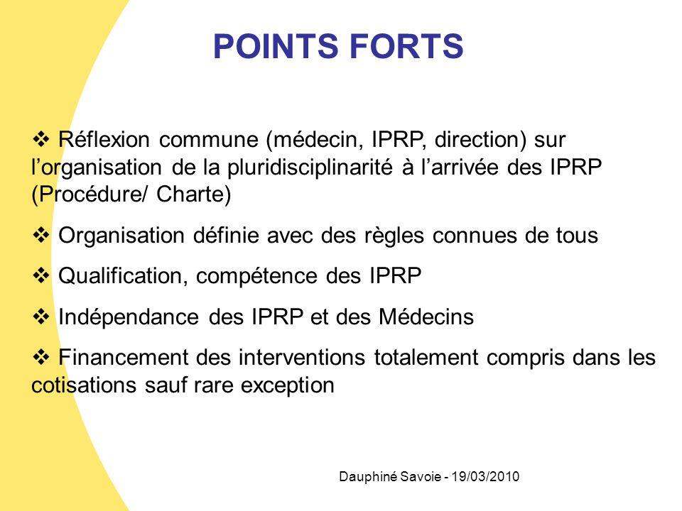 Dauphiné Savoie - 19/03/2010 POINTS FORTS Réflexion commune (médecin, IPRP, direction) sur lorganisation de la pluridisciplinarité à larrivée des IPRP