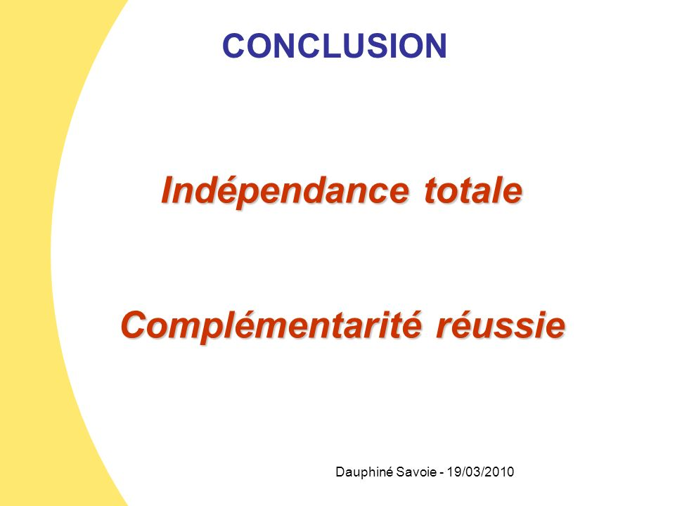 Dauphiné Savoie - 19/03/2010 CONCLUSION Indépendance totale Complémentarité réussie