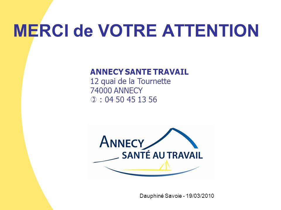 MERCI de VOTRE ATTENTION ANNECY SANTE TRAVAIL 12 quai de la Tournette 74000 ANNECY : 04 50 45 13 56 Dauphiné Savoie - 19/03/2010