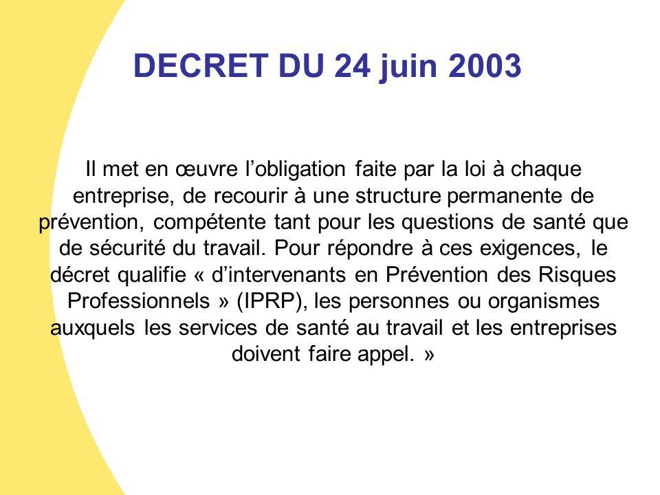 DECRET DU 24 juin 2003 Il met en œuvre lobligation faite par la loi à chaque entreprise, de recourir à une structure permanente de prévention, compéte