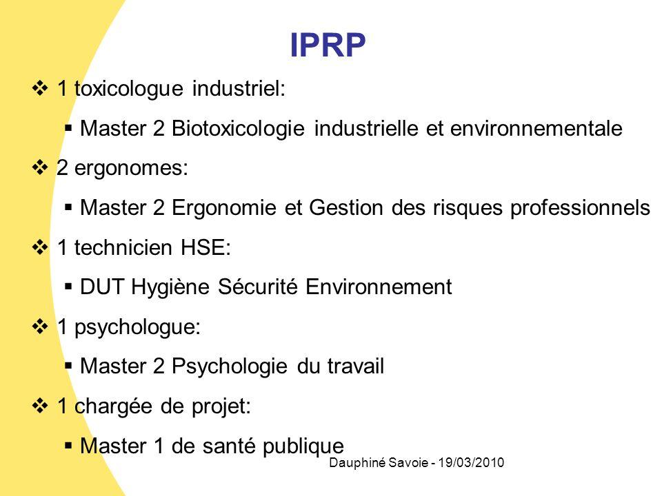IPRP 1 toxicologue industriel: Master 2 Biotoxicologie industrielle et environnementale 2 ergonomes: Master 2 Ergonomie et Gestion des risques profess