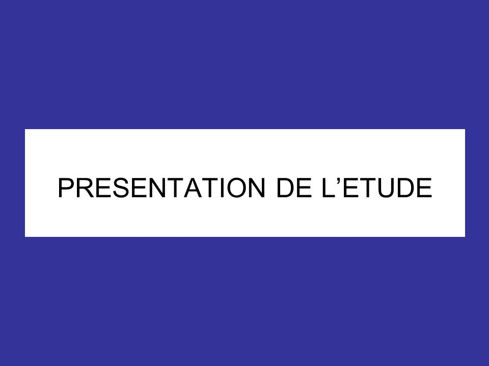 PRESENTATION DE LETUDE