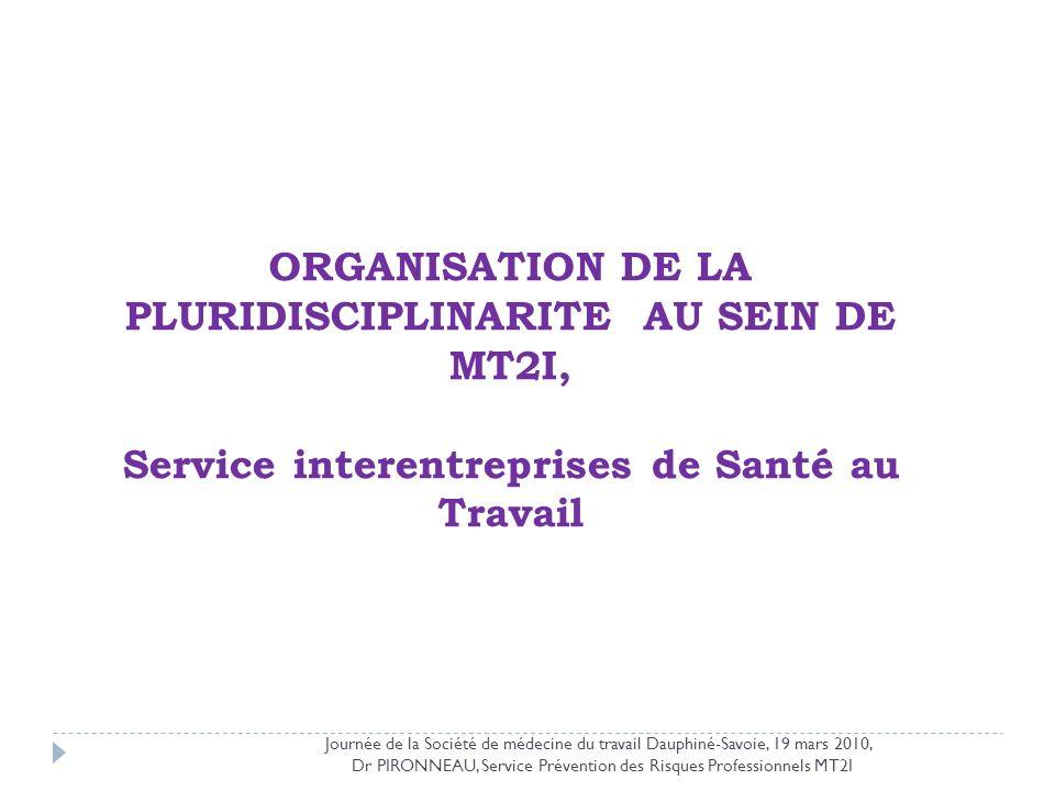 ORGANISATION DE LA PLURIDISCIPLINARITE AU SEIN DE MT2I, Service interentreprises de Santé au Travail Journée de la Société de médecine du travail Daup