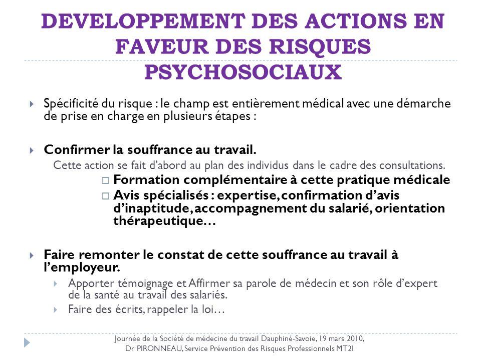 DEVELOPPEMENT DES ACTIONS EN FAVEUR DES RISQUES PSYCHOSOCIAUX Spécificité du risque : le champ est entièrement médical avec une démarche de prise en c