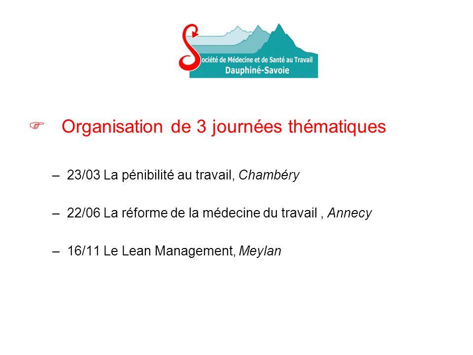 Organisation de 3 journées thématiques –23/03 La pénibilité au travail, Chambéry –22/06 La réforme de la médecine du travail, Annecy –16/11 Le Lean Management, Meylan