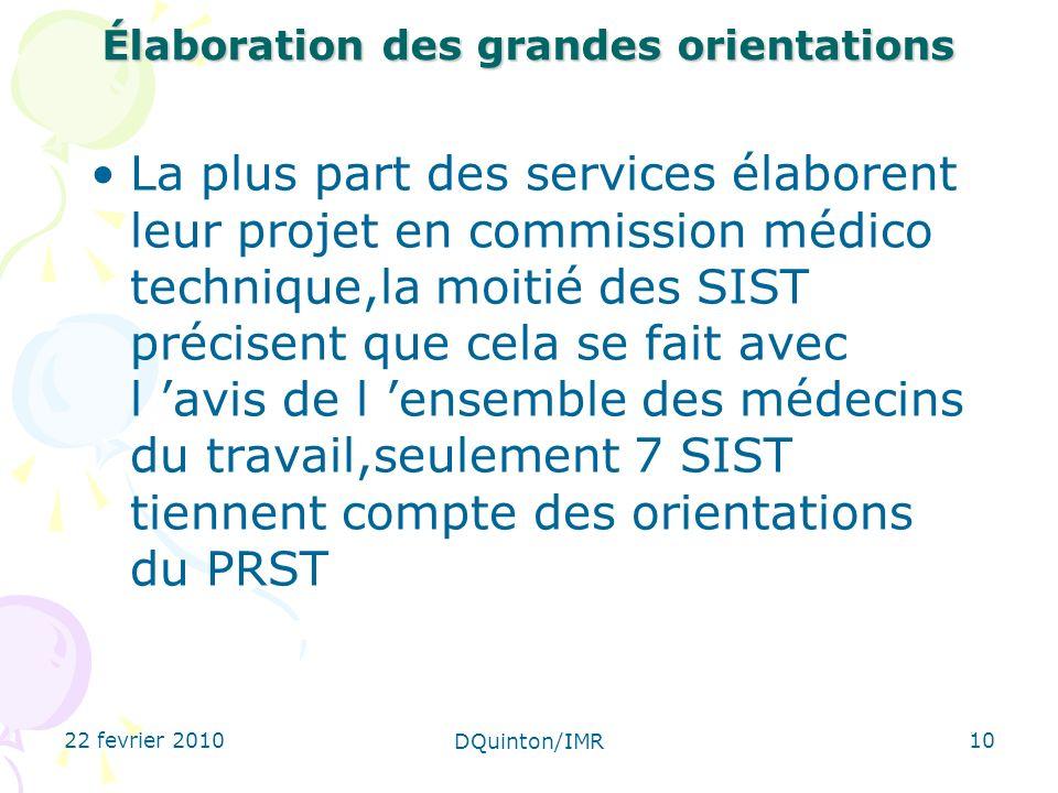 22 fevrier 2010 DQuinton/IMR 10 Élaboration des grandes orientations La plus part des services élaborent leur projet en commission médico technique,la