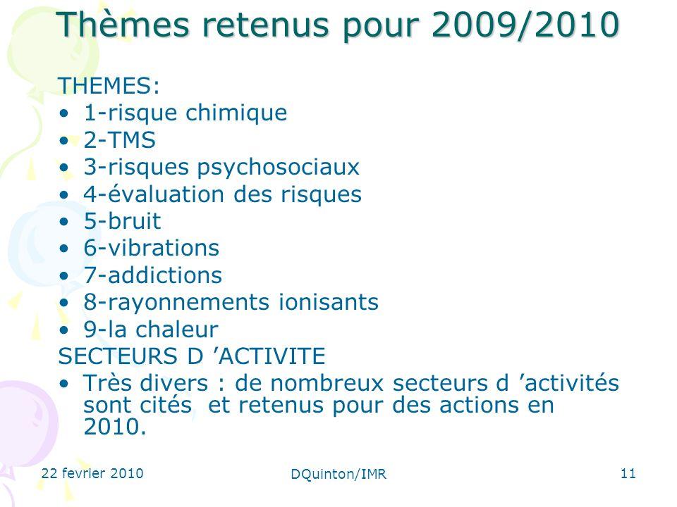 22 fevrier 2010 DQuinton/IMR 11 Thèmes retenus pour 2009/2010 THEMES: 1-risque chimique 2-TMS 3-risques psychosociaux 4-évaluation des risques 5-bruit 6-vibrations 7-addictions 8-rayonnements ionisants 9-la chaleur SECTEURS D ACTIVITE Très divers : de nombreux secteurs d activités sont cités et retenus pour des actions en 2010.