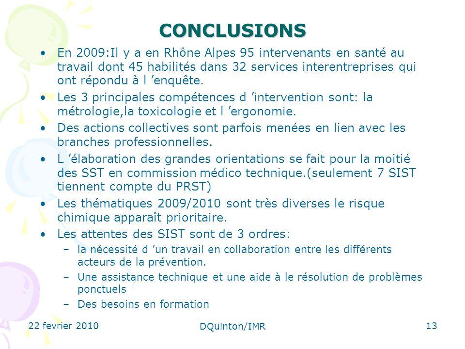 22 fevrier 2010 DQuinton/IMR 13CONCLUSIONS En 2009:Il y a en Rhône Alpes 95 intervenants en santé au travail dont 45 habilités dans 32 services interentreprises qui ont répondu à l enquête.