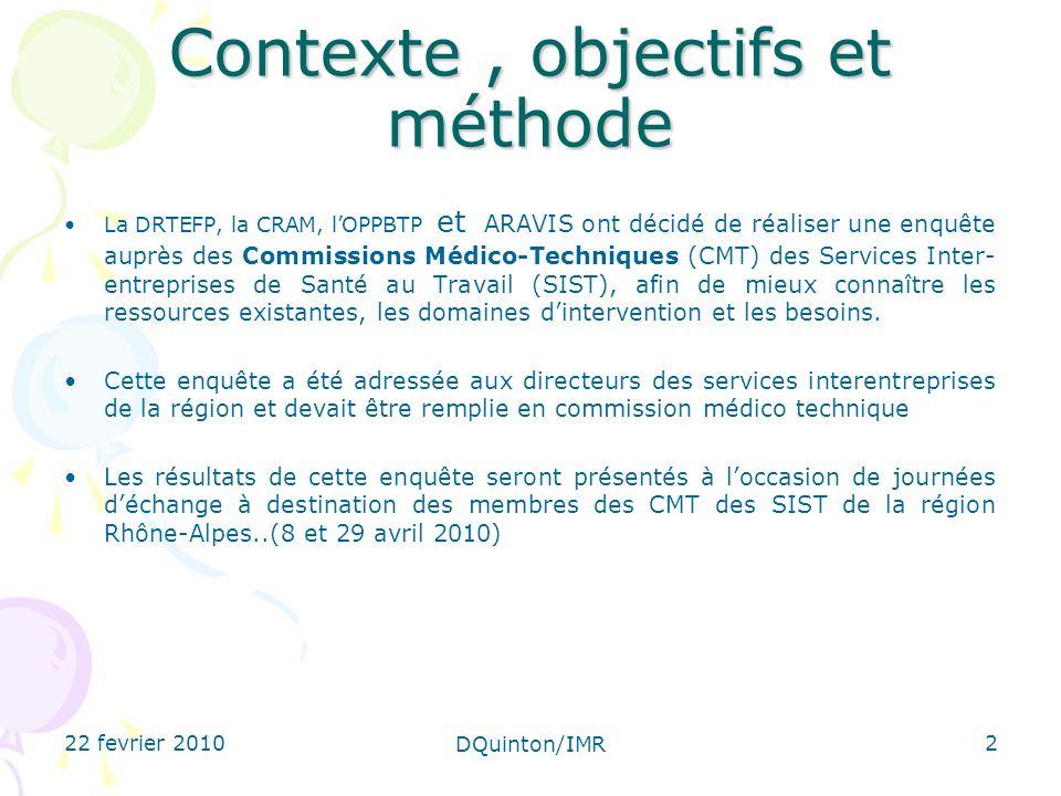 22 fevrier 2010 DQuinton/IMR 2 Contexte, objectifs et méthode La DRTEFP, la CRAM, lOPPBTP et ARAVIS ont décidé de réaliser une enquête auprès des Comm
