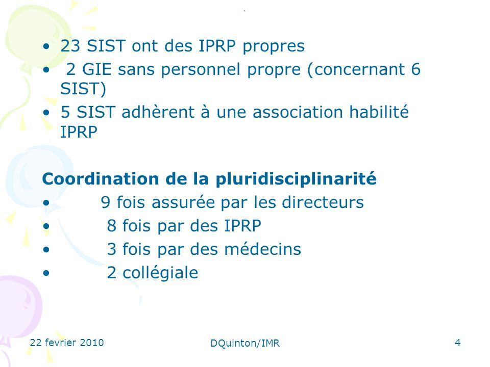 22 fevrier 2010 DQuinton/IMR 4. 23 SIST ont des IPRP propres 2 GIE sans personnel propre (concernant 6 SIST) 5 SIST adhèrent à une association habilit
