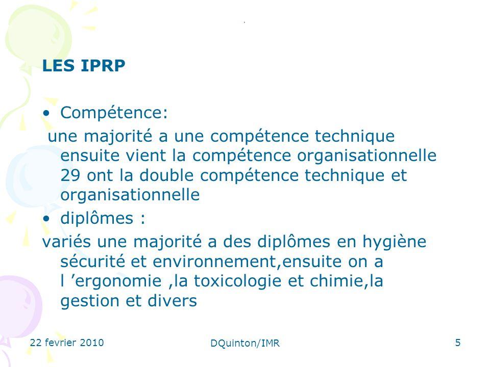 22 fevrier 2010 DQuinton/IMR 5. LES IPRP Compétence: une majorité a une compétence technique ensuite vient la compétence organisationnelle 29 ont la d