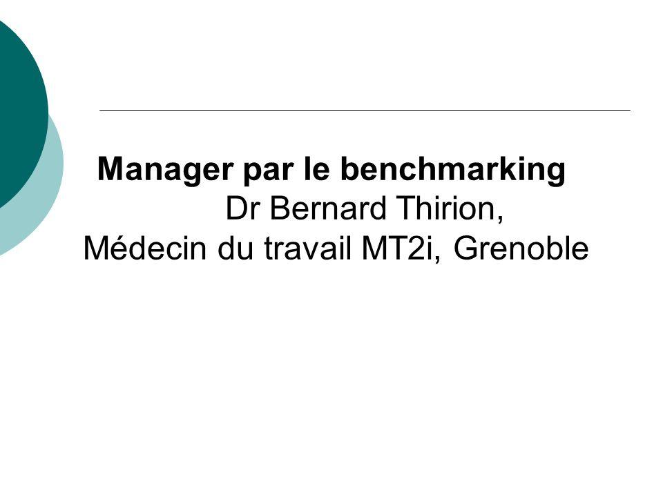 Manager par le benchmarking Dr Bernard Thirion, Médecin du travail MT2i, Grenoble