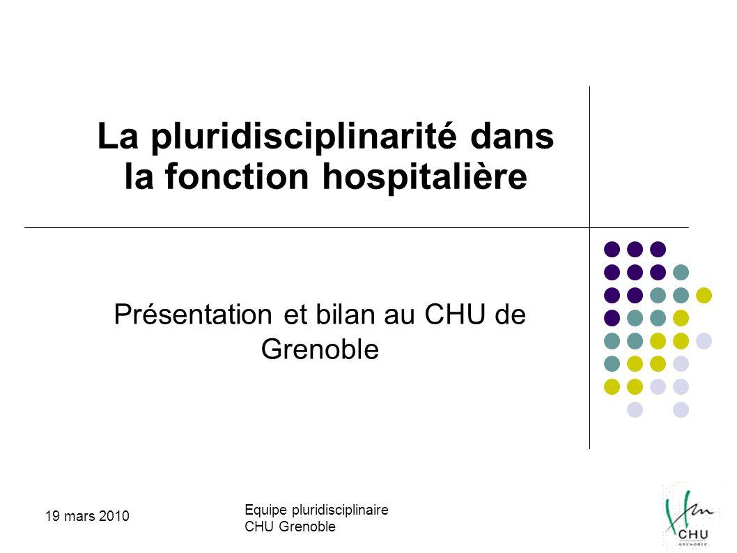Equipe pluridisciplinaire CHU Grenoble 19 mars 2010 Présentation et bilan au CHU de Grenoble La pluridisciplinarité dans la fonction hospitalière