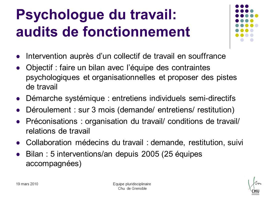 19 mars 2010Equipe pluridisciplinaire Chu de Grenoble Psychologue du travail: audits de fonctionnement Intervention auprès dun collectif de travail en