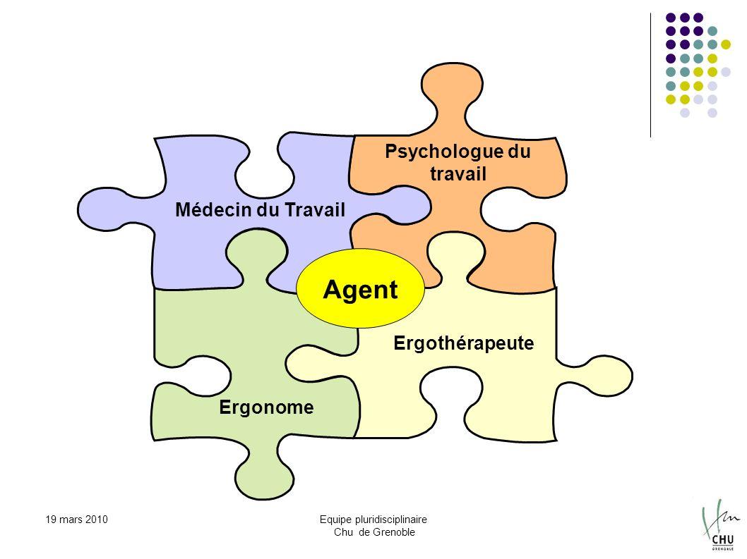 19 mars 2010Equipe pluridisciplinaire Chu de Grenoble Médecin du Travail Psychologue du travail Ergothérapeute Ergonome Agent