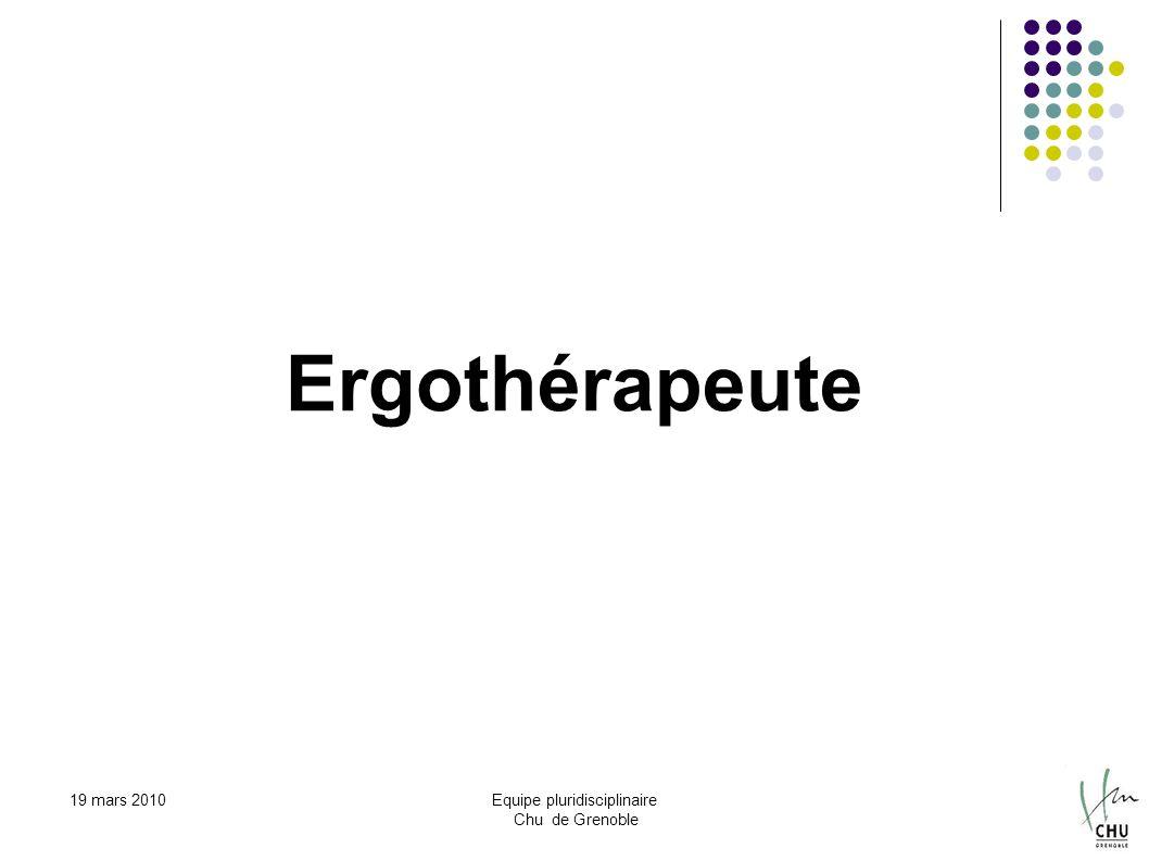 19 mars 2010Equipe pluridisciplinaire Chu de Grenoble Ergothérapeute