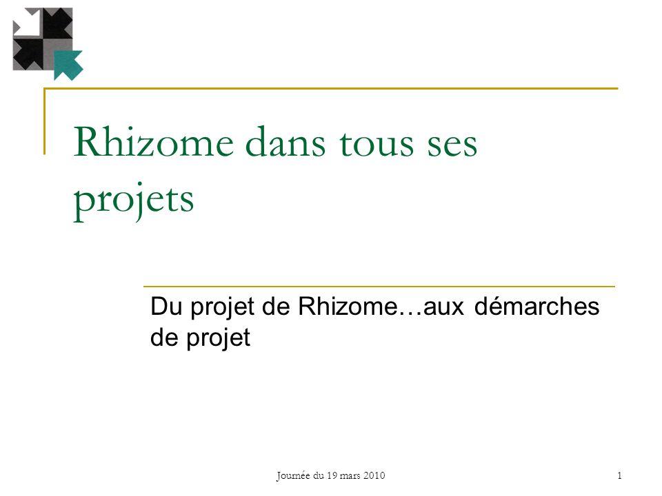 Rhizome dans tous ses projets Du projet de Rhizome…aux démarches de projet 1 Journée du 19 mars 2010