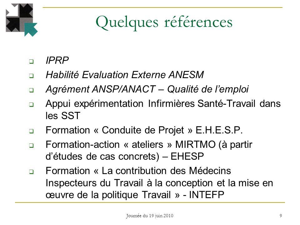 Quelques références IPRP Habilité Evaluation Externe ANESM Agrément ANSP/ANACT – Qualité de lemploi Appui expérimentation Infirmières Santé-Travail dans les SST Formation « Conduite de Projet » E.H.E.S.P.
