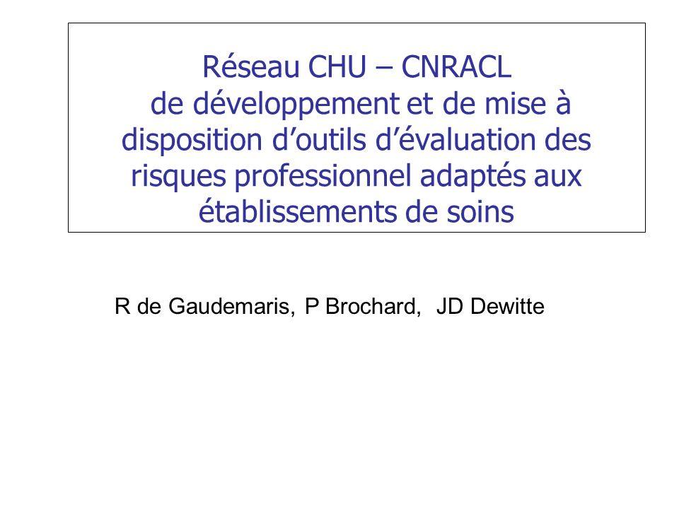 Réseau CHU – CNRACL de développement et de mise à disposition doutils dévaluation des risques professionnel adaptés aux établissements de soins R de Gaudemaris, P Brochard, JD Dewitte