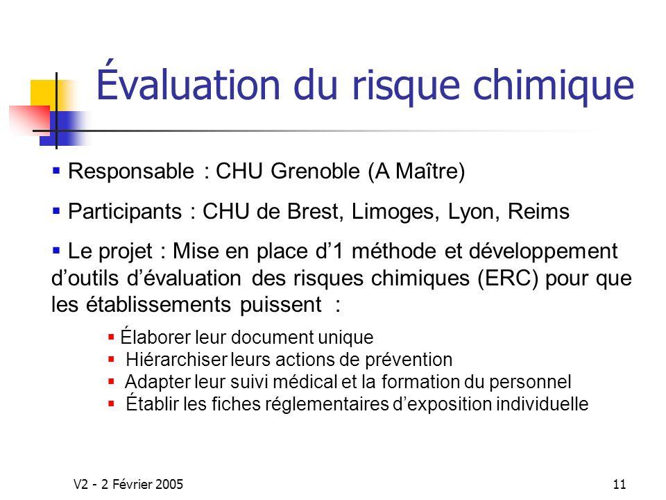 V2 - 2 Février 200511 Élaborer leur document unique Hiérarchiser leurs actions de prévention Adapter leur suivi médical et la formation du personnel Établir les fiches réglementaires dexposition individuelle Évaluation du risque chimique Responsable : CHU Grenoble (A Maître) Participants : CHU de Brest, Limoges, Lyon, Reims Le projet : Mise en place d1 méthode et développement doutils dévaluation des risques chimiques (ERC) pour que les établissements puissent :