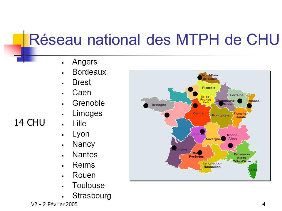 V2 - 2 Février 20054 Réseau national des MTPH de CHU Angers Bordeaux Brest Caen Grenoble Limoges Lille Lyon Nancy Nantes Reims Rouen Toulouse Strasbourg 14 CHU