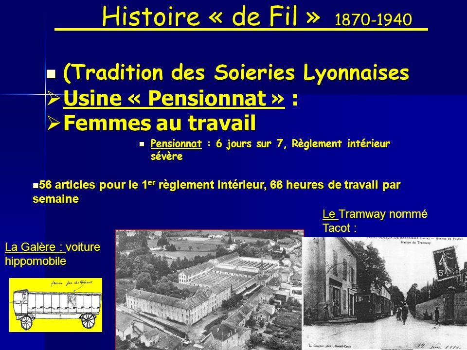 Histoire « de Fil » 1870-1940 (Tradition des Soieries Lyonnaises (Tradition des Soieries Lyonnaises Usine « Pensionnat » : Femmes au travail Femmes au